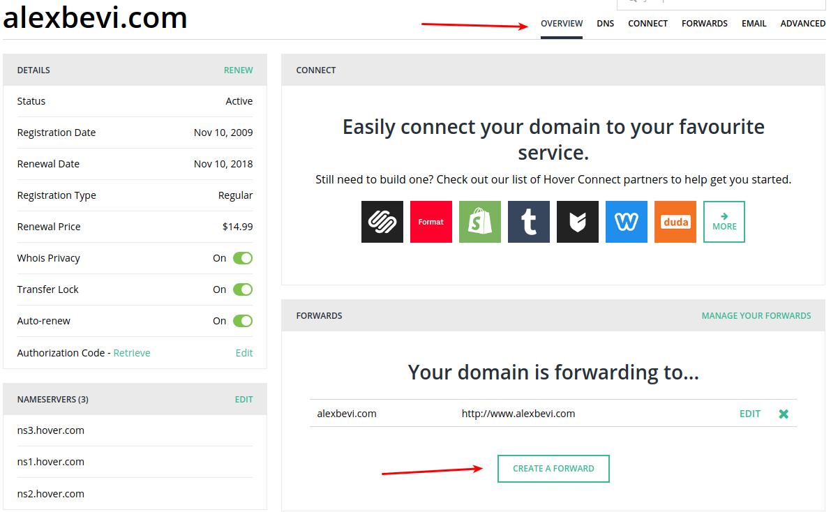 Setting up domain forwarding in hover com - ALEX BEVILACQUA